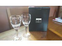 2 X John Richard Waterford Crystal Geo white wine glasses. East Belfast.
