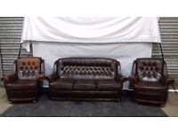 Chesterfield Sofa and two chairs