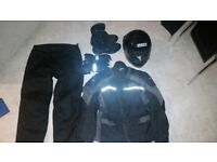 Full Motorbike Clothing Set-helmet, trousers, gloves, jacket, boots, Worth £250 new, selling d