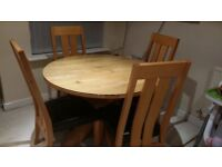 NEXT Round Oak Dining Table, Chairs and safety glass protector
