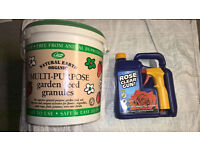 Garden feed granules and rose clear spray