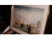 llarge colored mounted framed print by william ,turner on the grand canal venice