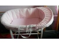 Girls pink and white moses basket £30