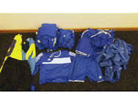 Complete set of mens adidas home & away football strips, nets, goalie kits, balls, subs tops