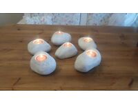 Shabby chic heavy pebble tea lights - set of 6 - new and boxed