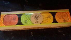The orange tree 4 pack gift set. Bath soak body lotion body scrub hand lotion in box