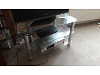 Clear Glass and Silver Colour Metal Television Stand