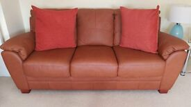 Harveys 2 seater /3seater faux leather tan sofas - look like new