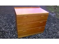 Solid wood three drawer chest