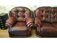 Chesterfield monk sofa and armchair suite. Delivery available