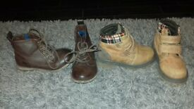 2 pairs kids boots size 8