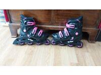 Girls In-line skates adjustable size 5-8.