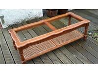 Solid hardwood and rattan glass top vintage coffee table, ideal for upcyle project