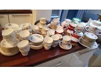 Large collection of vintage bone china for Wedding or Tea Party