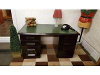 solid oak double pedestal vintage desk