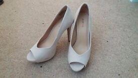 Beige/cream suede-effect finish peep-toe pumps. Size 6. £5.