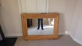 Large Rustic Style Pine Hanging Mirror