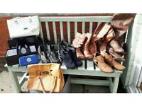 9 PAIRS BOOTS SHOES & BAGS FOR SALE SIZE 7 DUNE JANE NORMAN ETC