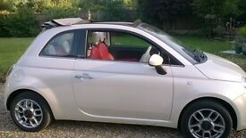 Pearl White Fiat 500 Convertible For Sale