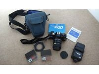 Praktica BX20 with extras, including lens filters and flash unit
