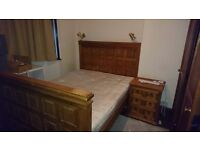 King size bed, mattress and 2 pieces of bedroom furniture