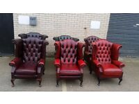 1 x Red Chesterfield Arm Chair, Real Leather Dining Furniture,Job lot,Ref:5