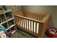 John Lewis soild oak cot- excellent condition A+
