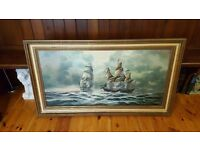 old oil painting of ships in gold frame , signed