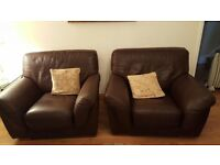 Brown Italian Leather 3 piece suite