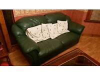 Great 3 Piece Green Leather Sofa Set in good condition