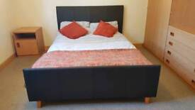Leather style double bed with mattress