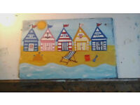 The Beach on Welsh slate. wall hanging plaque. hand painted picture