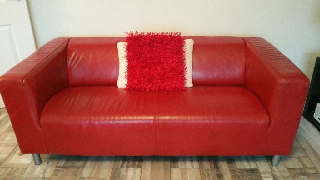 Red Leather Ikea Klippan Sofa And Or White Faux Leather 2