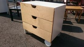 Modern Beech / White Chest of Drawers with Large Wheels