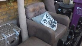 Large Leather Armchair and Footstool with Storage