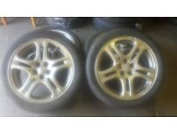 Set of 17 Subaru wheels with 215 45 16 tyres.in good condition.all tyres are almost new.free fitting