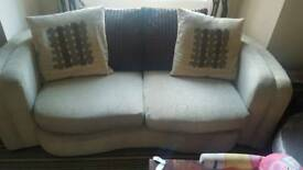 Cream and brown 3 seater settee / sofa and chair