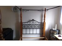 Double Bed All pine and Black fired metal 4 Poster