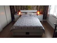 DOUBLE BED WITH MATTRESS AND STORAGE DRAWERS