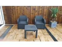 BLACK LIGHT 2 SEATER TABLE PATIO SET WITH 2 PADDED CREAM CUSHIONS