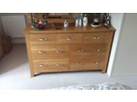 Solid Oak Chest of Drawers with Steel Handles