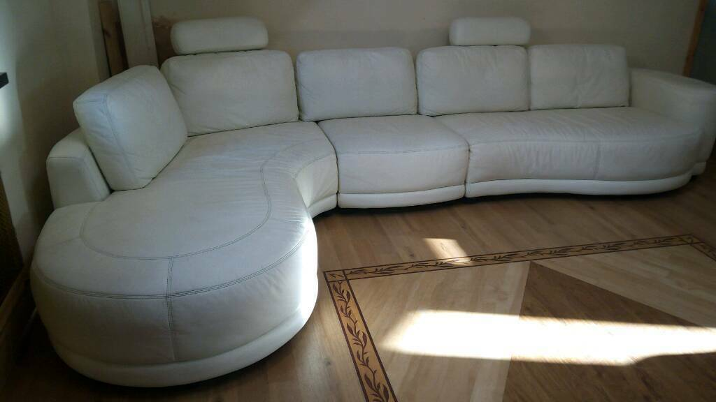 White leather large corner suite