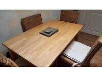 John Lewis solid pine dining table and four chairs