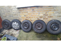 "Selling 5 used 13"" tyres on steel rim for Vauxhall Corsa"