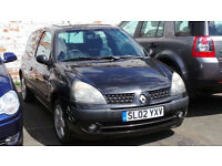2002 02 RENAULT CLIO DYNAMIQUE 16V MOT 04/17 BLACK (PART EX WELCOME)