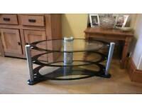 Glass 2 shelf tv stand