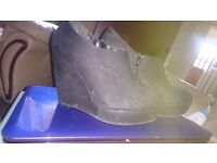Black wedge ankle boots size 6