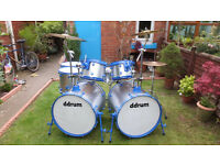 DDRUM MONSTER DOUBLE BASS 7 DRUM KIT PLUS CYMBALS AND STANDS