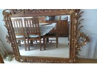 HUGE FRENCH STYLE MIRROR , GOLD SURROUND FLOOR STANDING / LEANER MIRROR