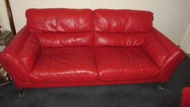 3 Seater Leather Sofa Colour Red